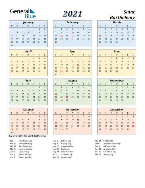 Saint Barthelemy Calendar 2021