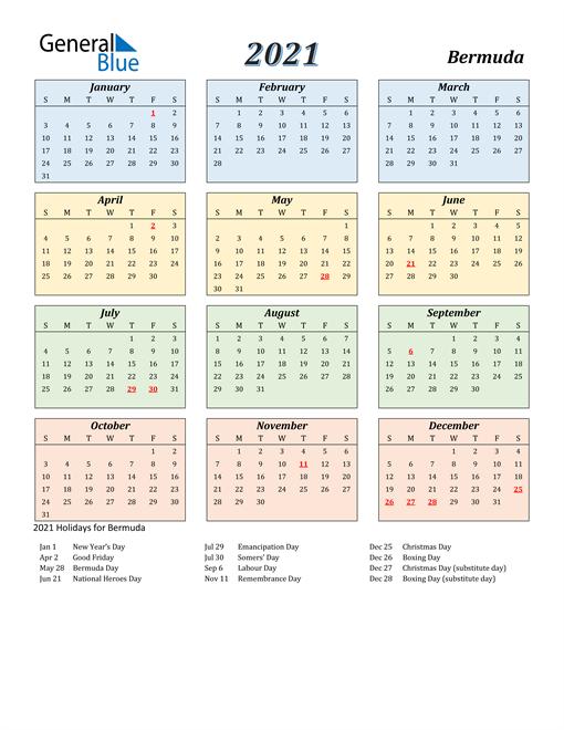 Bermuda Calendar 2021