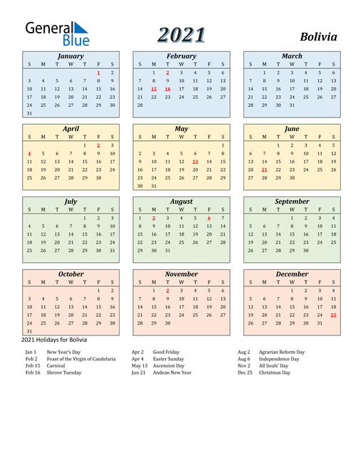 Bolivia Calendar 2021