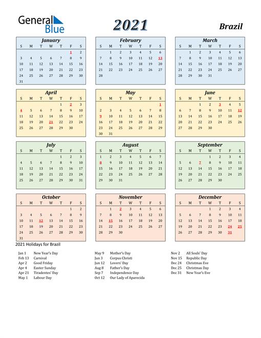 Brazil Calendar 2021