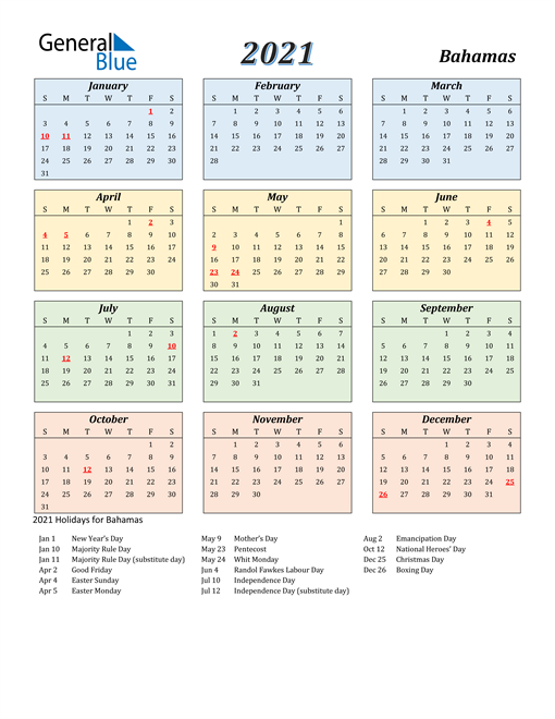 Image of Bahamas 2021 Calendar with Color with Holidays