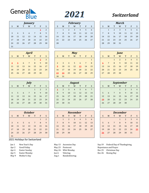 Image of Switzerland 2021 Calendar with Color with Holidays
