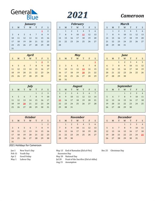 Cameroon Calendar 2021