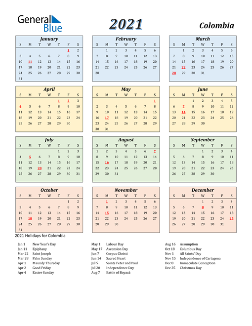 Image of Colombia 2021 Calendar with Color with Holidays