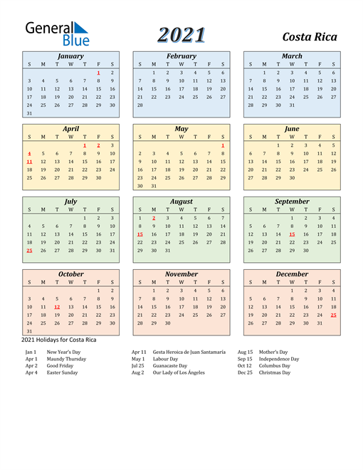 Image of Costa Rica 2021 Calendar with Color with Holidays