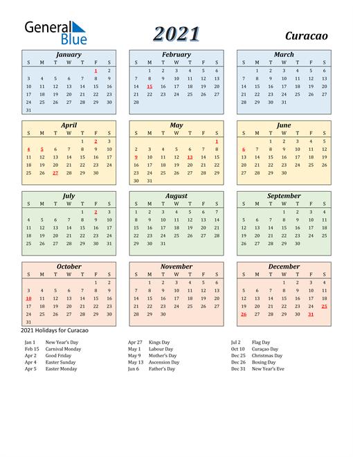 Curacao Calendar 2021