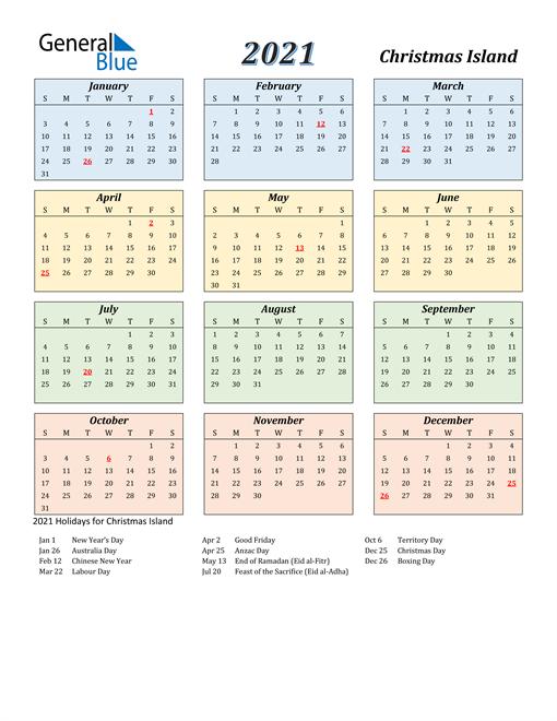 Christmas Island Calendar 2021