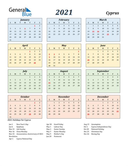 2021 Calendar - Cyprus with Holidays