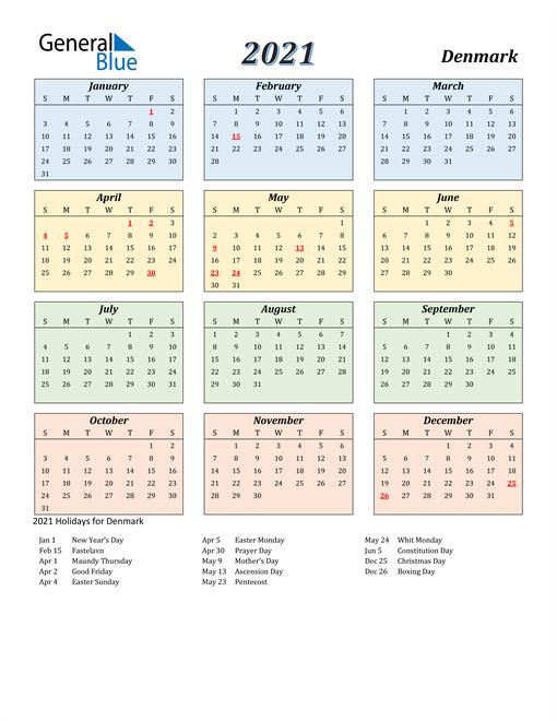 Denmark Calendar 2021