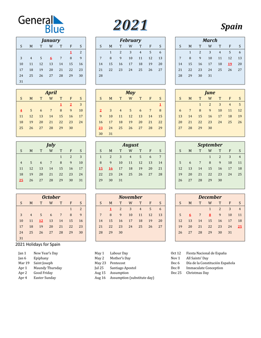 Image of Spain 2021 Calendar with Color with Holidays