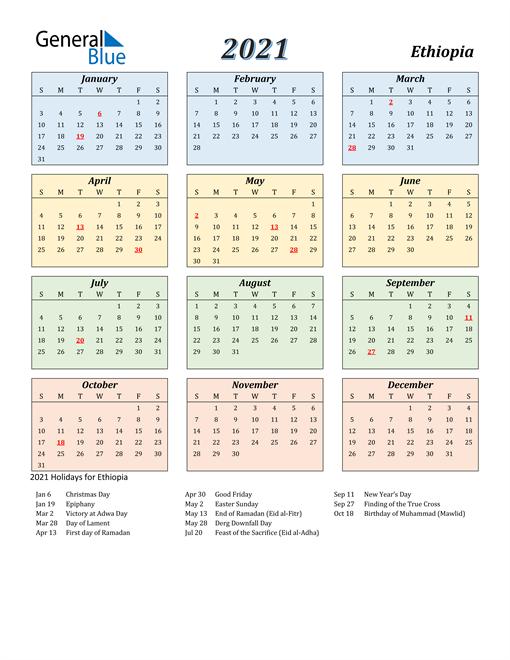 Ethiopia Calendar 2021