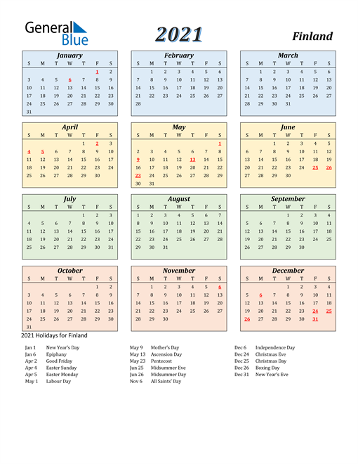 Image of Finland 2021 Calendar with Color with Holidays
