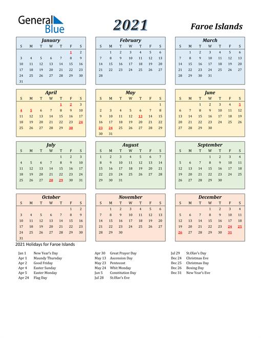 Faroe Islands Calendar 2021
