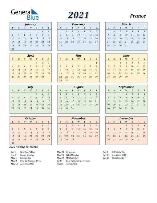 2021 calendar streamlined colored with holidays portrait en fr