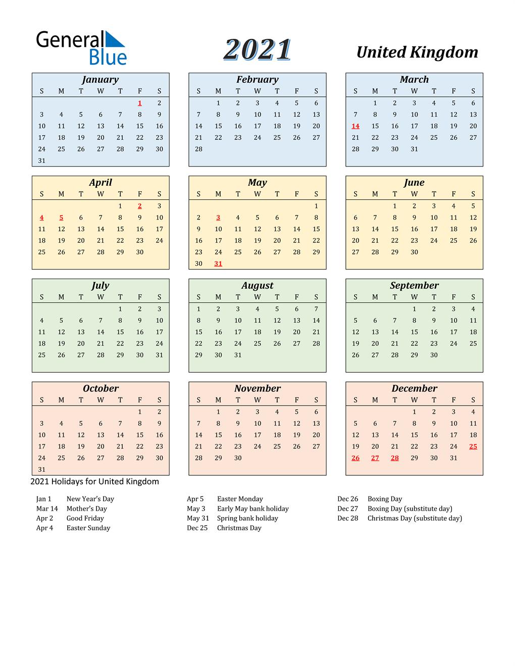 20 United Kingdom Calendar with Holidays