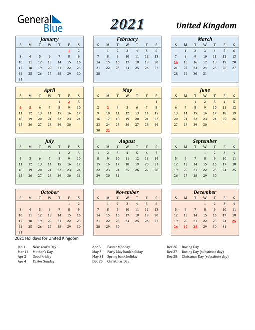 2021 Calendar   United Kingdom with Holidays