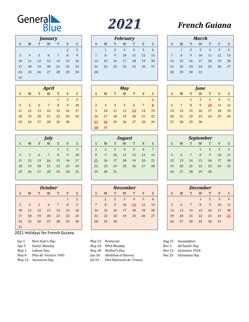 2021 Calendar - French Guiana with Holidays