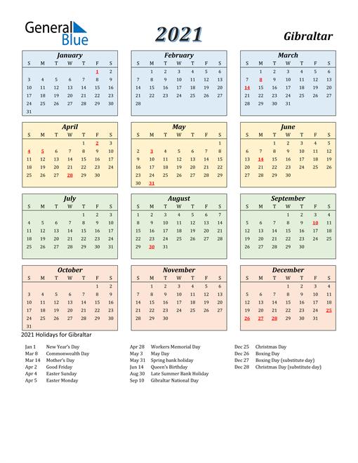 Gibraltar Calendar 2021