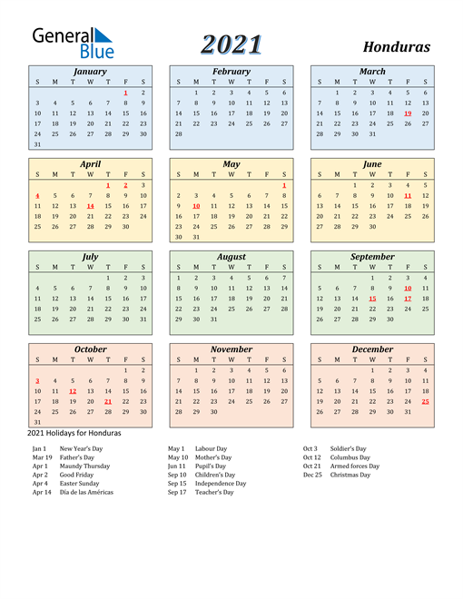 Image of Honduras 2021 Calendar with Color with Holidays