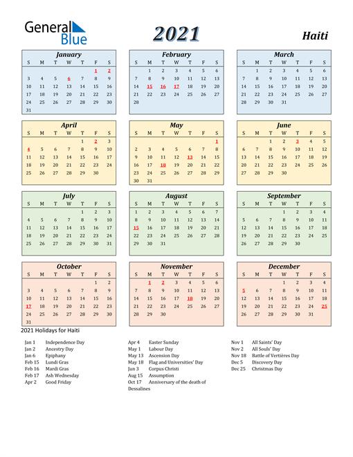 Haiti Calendar 2021