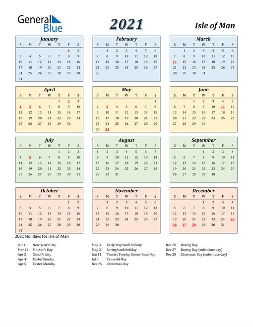 Isle of Man Calendar 2021