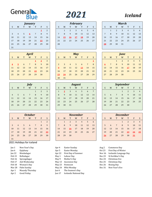 Image of Iceland 2021 Calendar with Color with Holidays