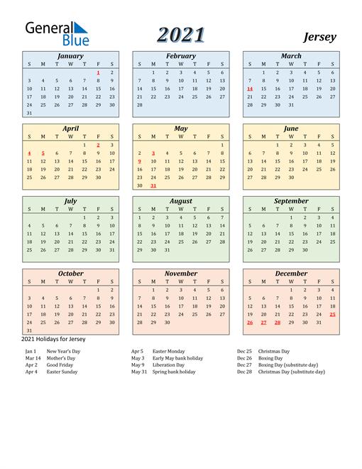 Jersey Calendar 2021