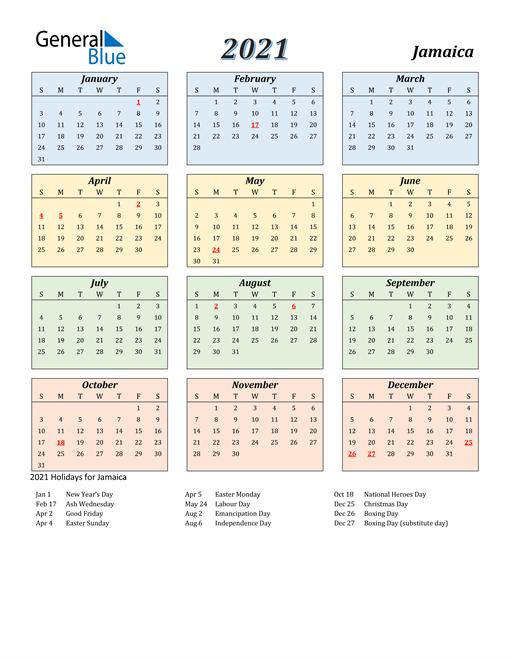 Jamaica Calendar 2021