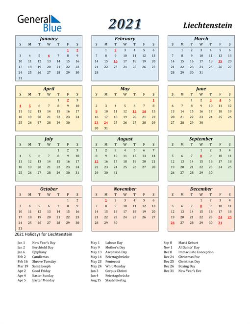 Liechtenstein Calendar 2021