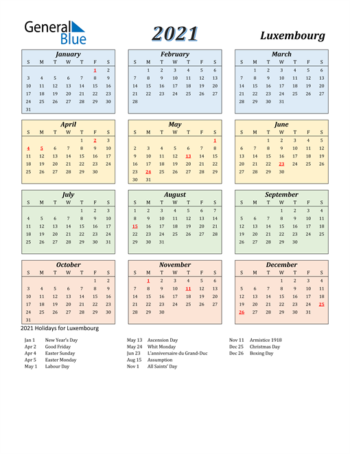 Image of Luxembourg 2021 Calendar with Color with Holidays