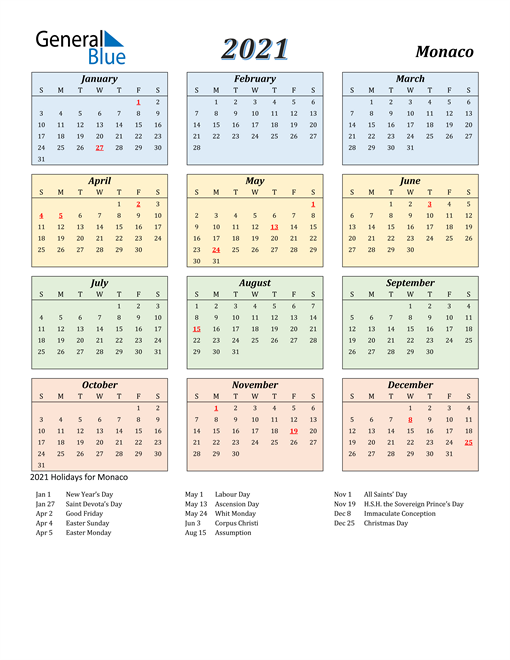 Image of Monaco 2021 Calendar with Color with Holidays