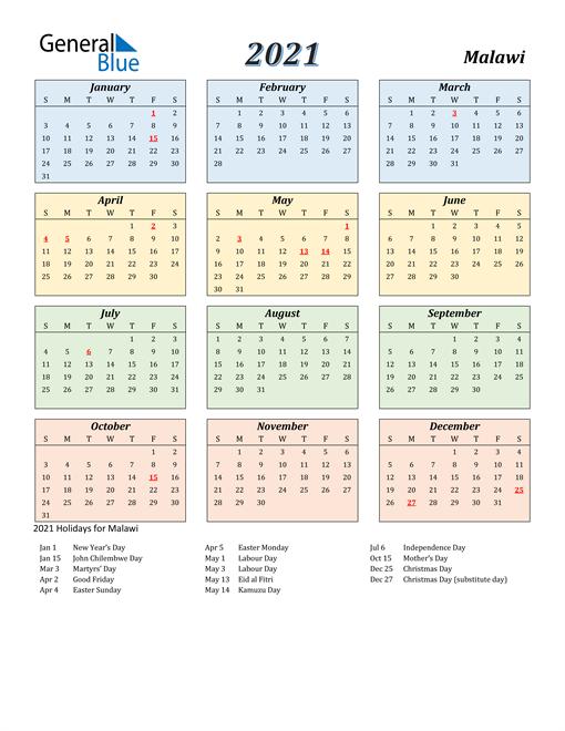 Malawi Calendar 2021