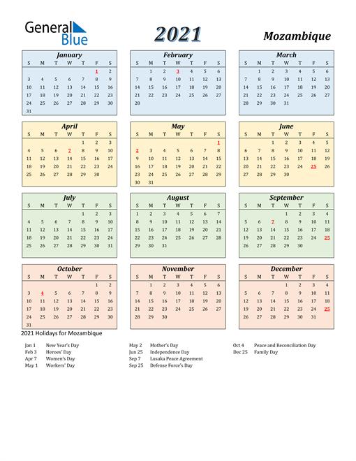 Mozambique Calendar 2021