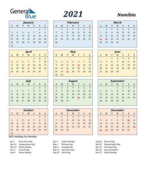 Namibia Calendar 2021