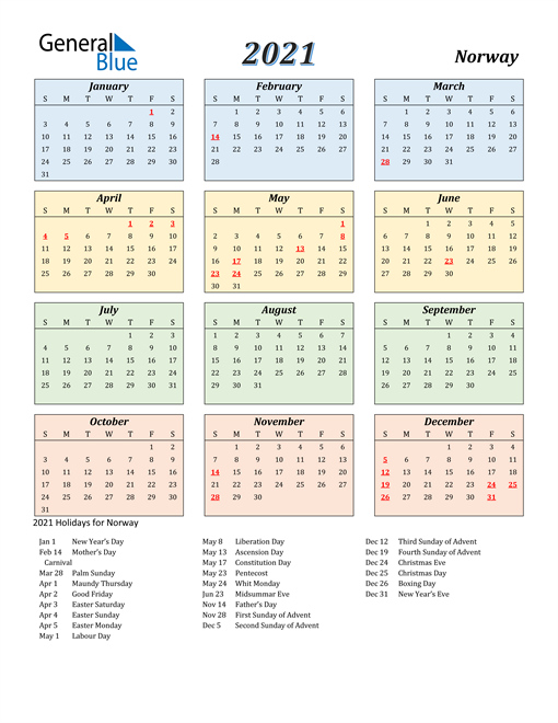 Image of Norway 2021 Calendar with Color with Holidays