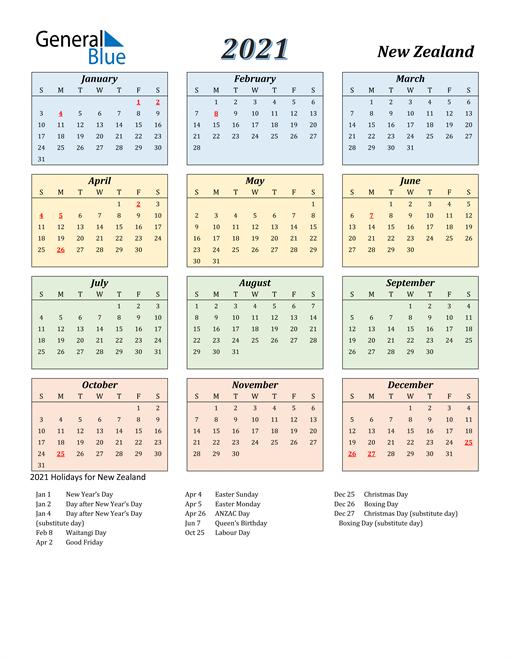 New Zealand Calendar 2021