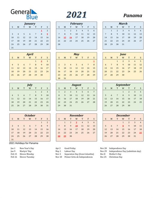 Panama Calendar 2021