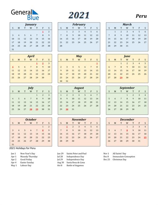 Peru Calendar 2021