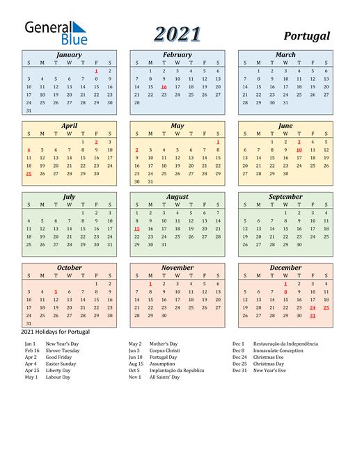 Portugal Calendar 2021