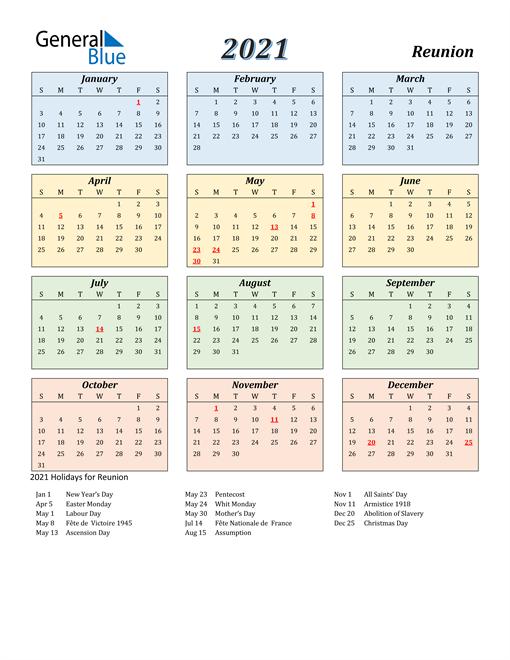 Reunion Calendar 2021