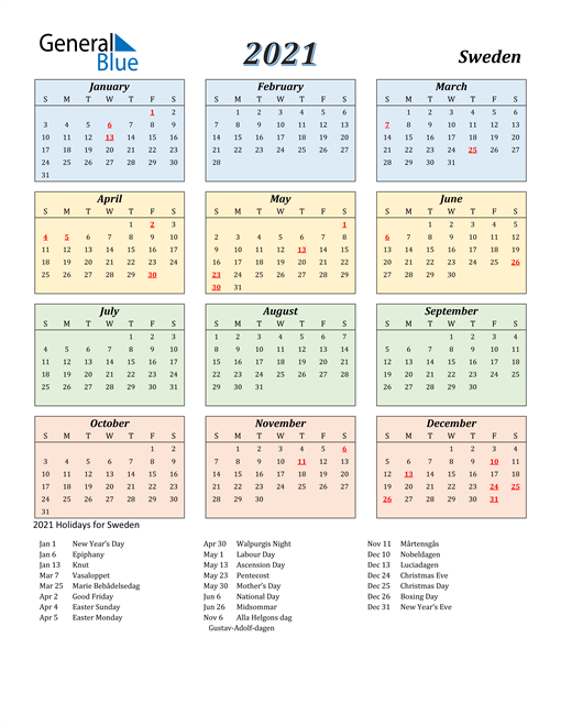Image of Sweden 2021 Calendar with Color with Holidays
