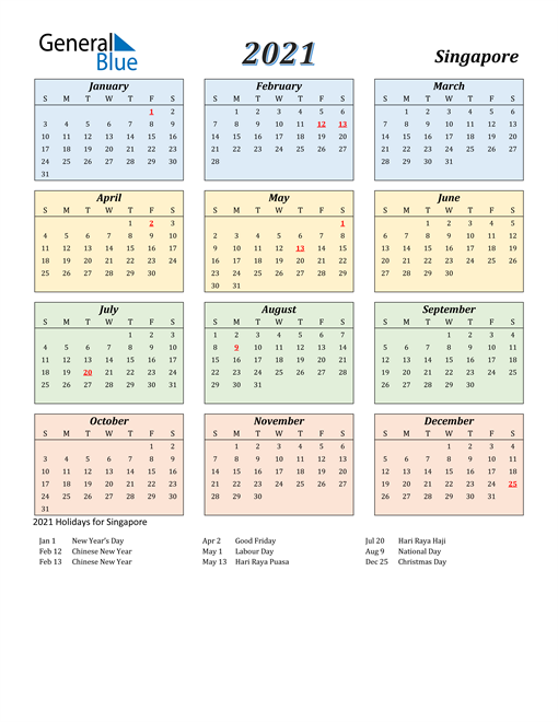 2021 Calendar - Singapore with Holidays