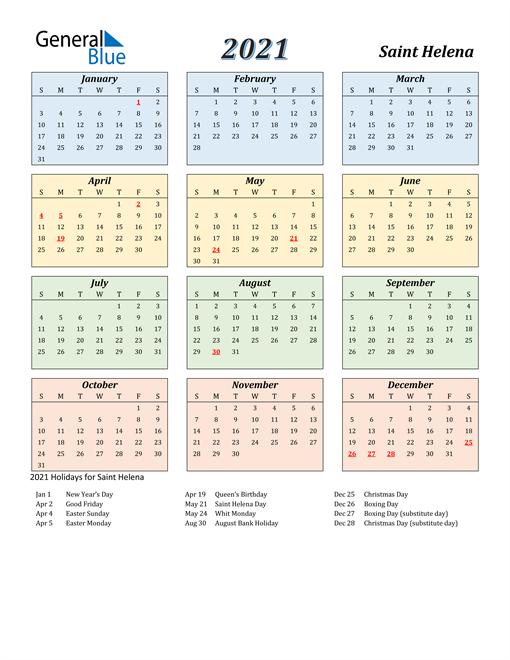 Saint Helena Calendar 2021