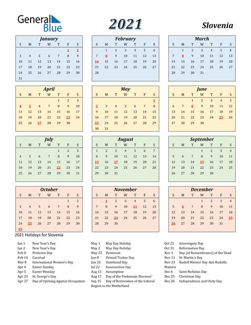 Slovenia Calendar 2021