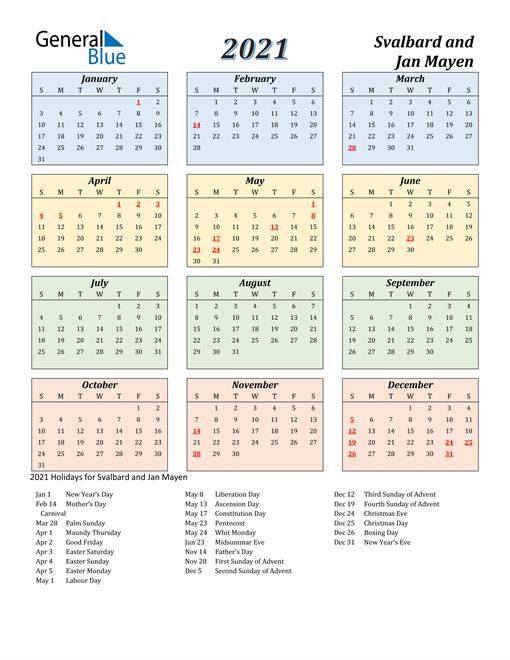 Svalbard and Jan Mayen Calendar 2021