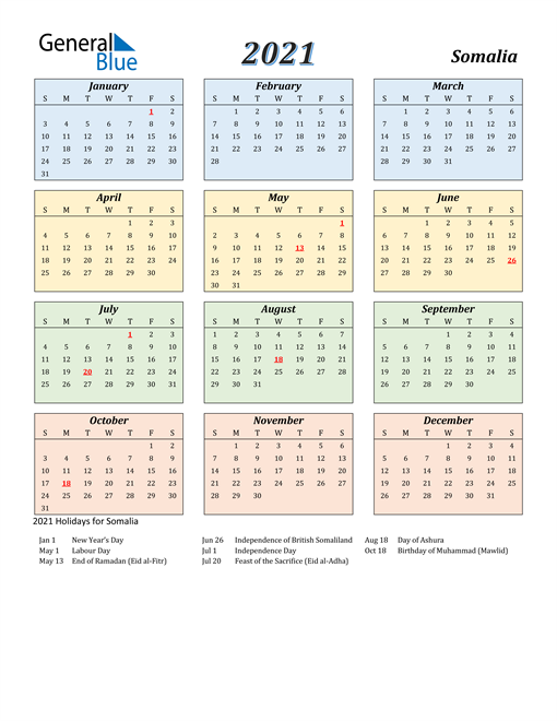 Image of Somalia 2021 Calendar with Color with Holidays