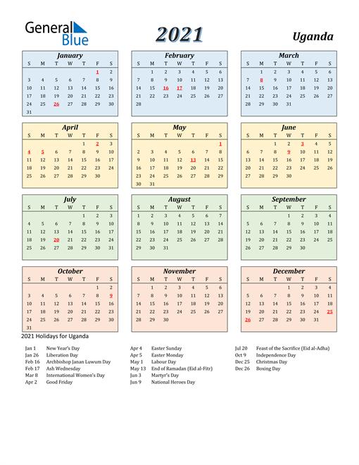 Uganda Calendar 2021