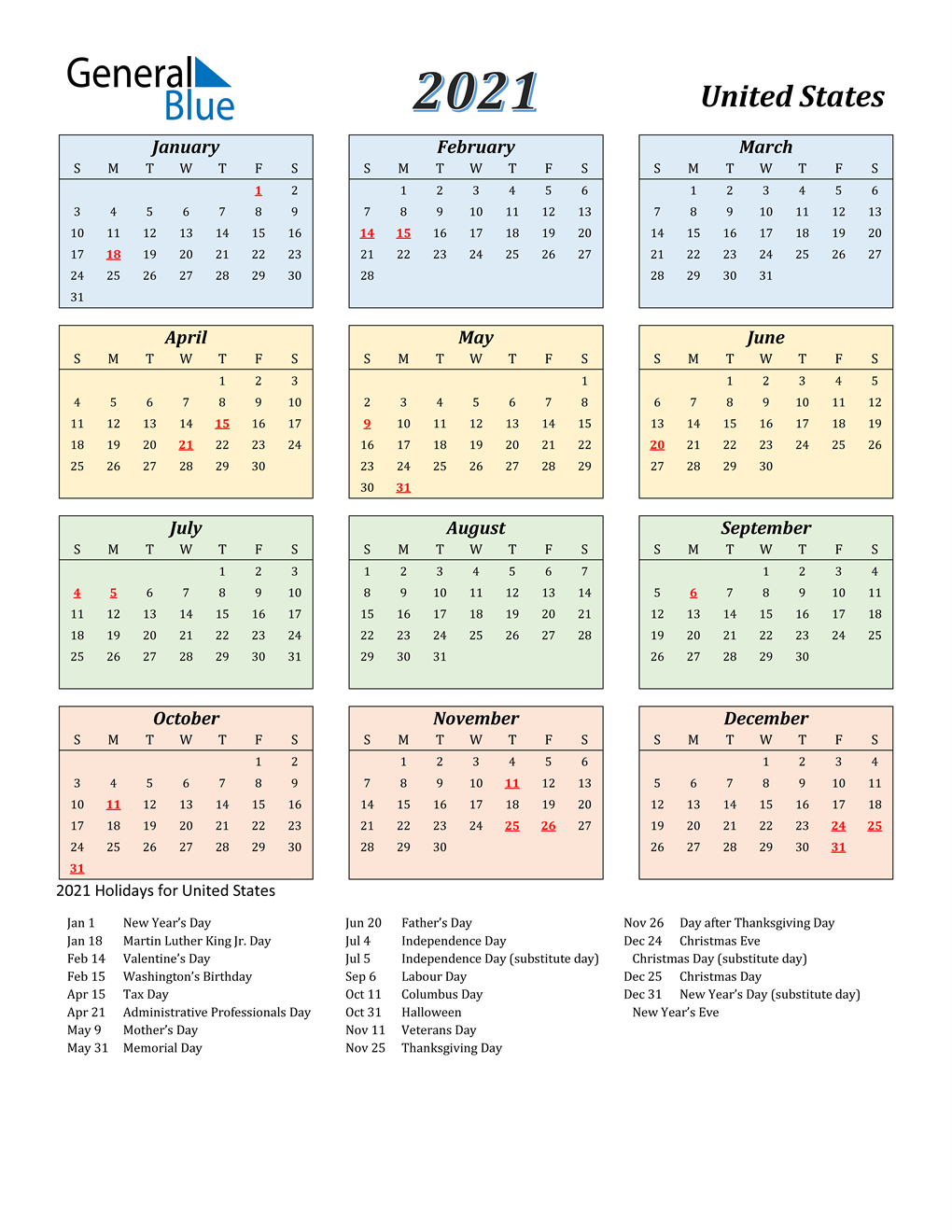 2022 Calendar With Holidays Usa.2021 United States Calendar With Holidays