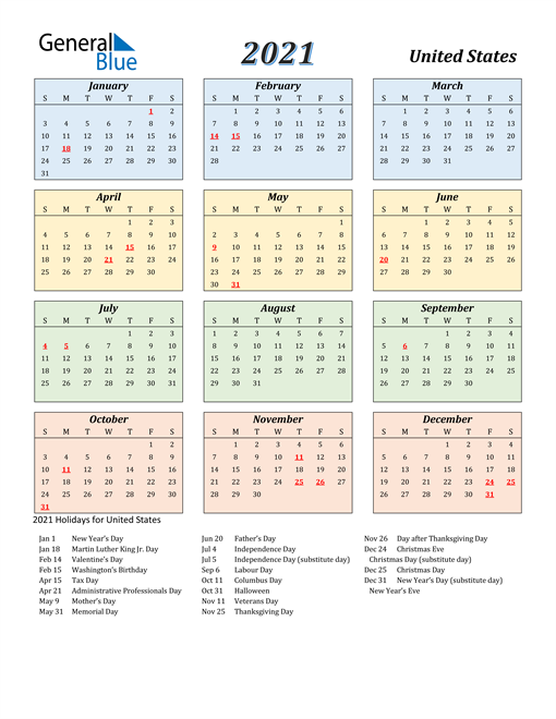 2021 Calendar   United States with Holidays