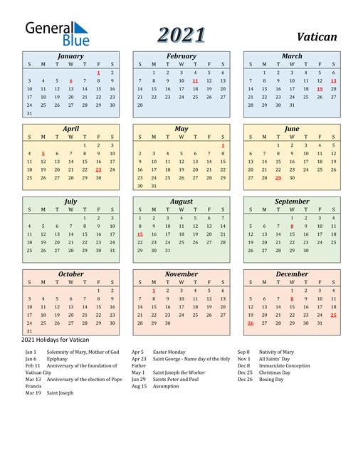 Vatican Calendar 2021